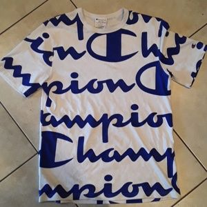 Champion blue and white shirt